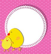 Chick and chicken on card design for Mothers Day Stock Illustration