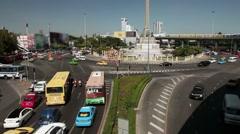 Bangkok area bus car traffic portrait of Rama IX. Stock Video Footage - stock footage