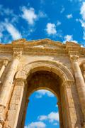 The Arch of Hadrian at Jersah in Jordan - stock photo