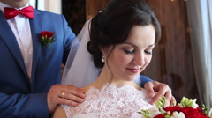 Bride and groom enjoy time together Stock Footage