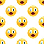 Surprised emoticon pattern Stock Illustration
