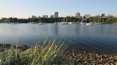 False Creek Morning Workout, Anchored Boats Stock Footage