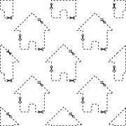 Stock Illustration of House dashed contour pattern