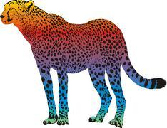 Cheetah - vector abstract rainbow Stock Illustration