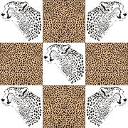 Cheetah patterns for textiles and wallpaper - stock illustration