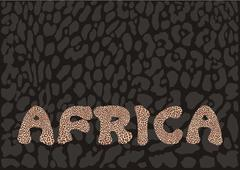 Inscription Africa with leopard camouflage - stock illustration