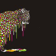 Leopard, abstract painting on a black background Stock Illustration