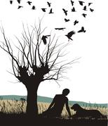 Man and dog in nature - stock illustration