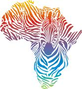 Map of Africa in rainbow zebra camouflage Stock Illustration