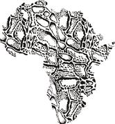 Map of Africa with Pattern background clouded leopard Stock Illustration