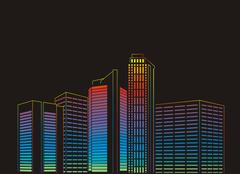 Modern city at night - stock illustration