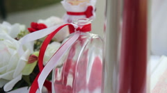Ribbon at bottle in the wind slow motion Stock Footage