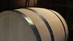 Hand irons oak wine barrels in the workshop Stock Footage