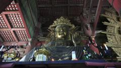 Tilt Shot Of Golden Amida Buddha Statue Todaiji Temple Japan Stock Footage