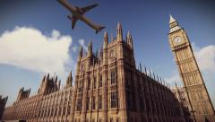 Airliner flying over The Palace of Westminster in London - stock footage
