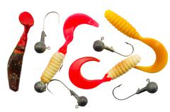 Colorful fishing shad lure - stock photo