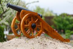 medieval gun on a wooden carriage - stock photo