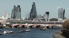 View on skyline city of London and River Thames from Waterloo bridge Stock Footage