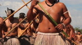 Terena Indians dancing to celebrate the indian day. Brazilian indigenous people HD Footage