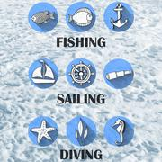 Stock Illustration of set of icons for water recreation