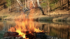 Bonfire of the river Stock Footage