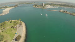 Aerial Shot of Quiriva Basin and Mariners Basin in Mission Bay Stock Footage
