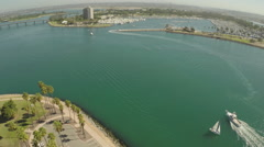 Aerial Shot of Mission Bay with Boats Quivira Basin Stock Footage