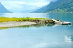 Summer fjord coast landscape (Norway). Stock Photos