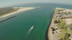 Aerial Shot of Mission Bay Channel with Boat Stock Footage