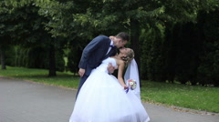 Beautiful kiss from the groom Stock Footage