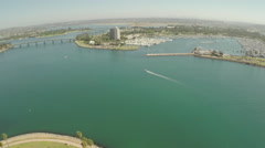 Aerial Shot of Fly In Quivira Basin  Mission Bay  Stock Footage