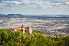 Old castle near coal mine - Jezeri, Czech republic - stock photo