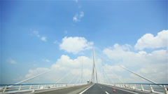 Driving and crossing over bridge of Normandy, France Stock Footage
