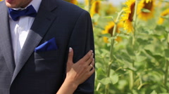 couple at sunflower field 02 - stock footage