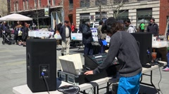 Dj live performance at the flea market of vinyl records in Jersey city, USA. Stock Footage