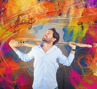 Passion for guitar Stock Illustration