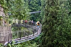 Cliff Walk Over Capilano River in Vancouver - stock photo