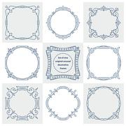 Stock Illustration of Set of 9 unusual decorative vintage frames in mono line style. Abstract vecto