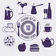 Set of 10 culinary icons - coffee turk, wine bottle, cup, teapot, hamburger,  - stock illustration