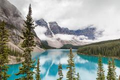 Moraine Lake and Valley of the Ten Peaks in Banff National Park Stock Photos