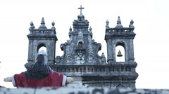 View on upper part of facade of local church in Goa. Stock Footage