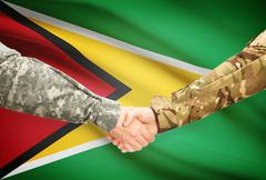 Stock Illustration of Soldiers shaking hands with flag on background - Guyana