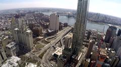 New York City Manhattan view of the road to Manhattan bridge Stock Footage