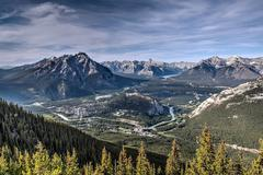 Aerial View of Banff from Atop Sulphur Mountain - stock photo