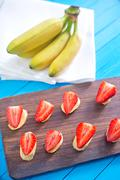 strawberry with banana - stock photo