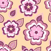 Trendy seamless pattern with sakura and leaves Stock Illustration