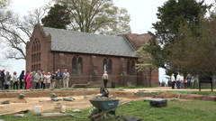 Jamestown Virgina historic archaeology dig church 4K 004 Stock Footage