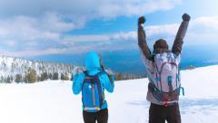 Snow Hiking Adventure Travel Trekking Winter Hiker Active People Sky Mountain Stock Footage