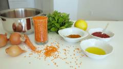 Ingredients for a traditional Turkish soup with red lentilst. Dolly shot. Stock Footage
