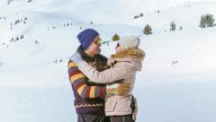 Snow Outdoors Hugging The Couple Man People Winter Woman Love Adult Two Fun Day - stock footage